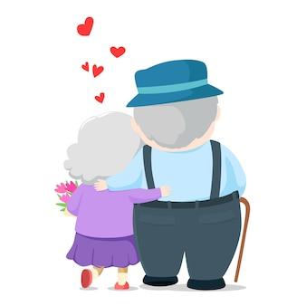 Caricature de beau couple de personnes âgées. grand-père donnant des fleurs à grand-mère et marchons ensemble illustration.