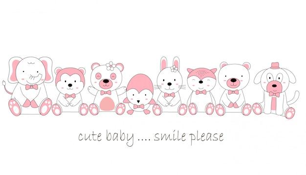 Caricature de bébé animal mignon style dessiné à la main