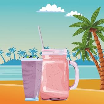 Caricature de boisson aux fruits tropical smoothie