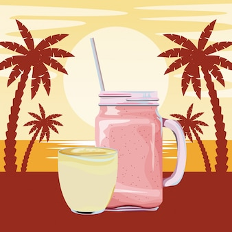 Caricature de boisson aux fruits tropical smoothie