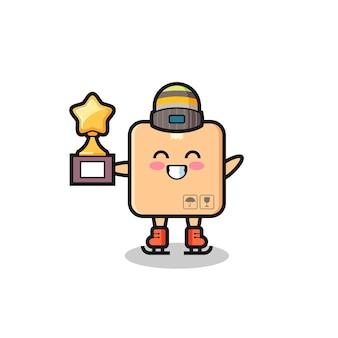Caricature de boîte en carton en tant que joueur de patinage sur glace tenant le trophée du gagnant, design de style mignon pour t-shirt, autocollant, élément de logo