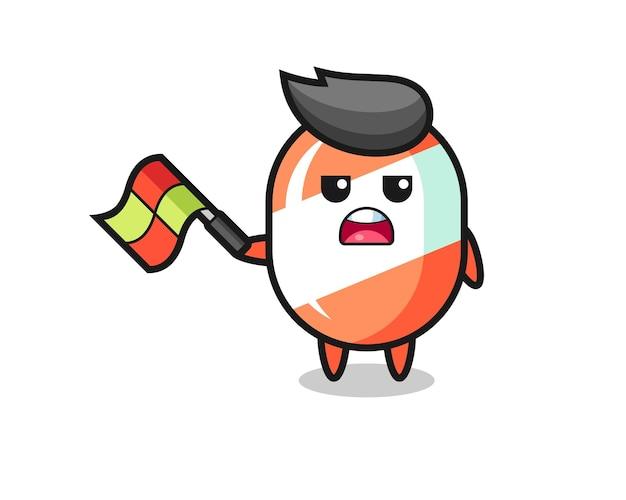 Caricature de bonbons en tant que juge de ligne brandissant le drapeau à un angle de 45 degrés, design de style mignon pour t-shirt, autocollant, élément de logo
