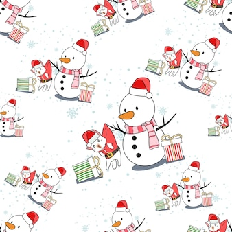 Caricature de bonhomme de neige et chat de père noël modèle sans couture