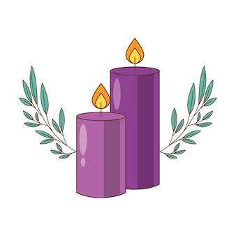 Caricature de bougies violettes avec des feuilles, illustration de dessin animé