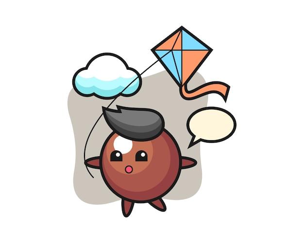 Caricature de boule de chocolat joue au cerf-volant