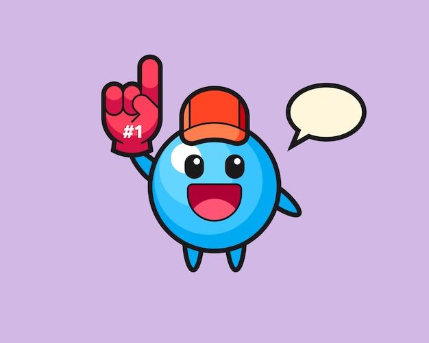 Caricature de boule de gomme avec le gant de fans numéro 1
