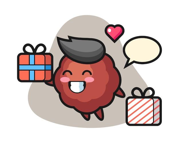 Caricature de boulette de viande donnant le cadeau