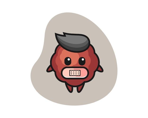 Caricature de boulette de viande avec du ruban adhésif sur la bouche