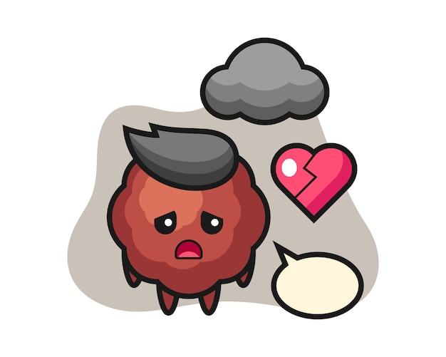 Caricature de boulette de viande est coeur brisé