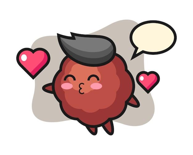 Caricature de boulette de viande avec un geste de baiser