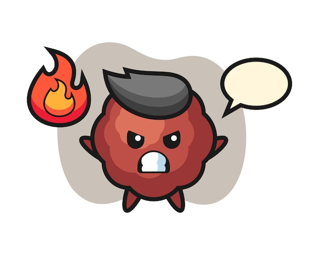 Caricature de boulette de viande avec un geste de colère
