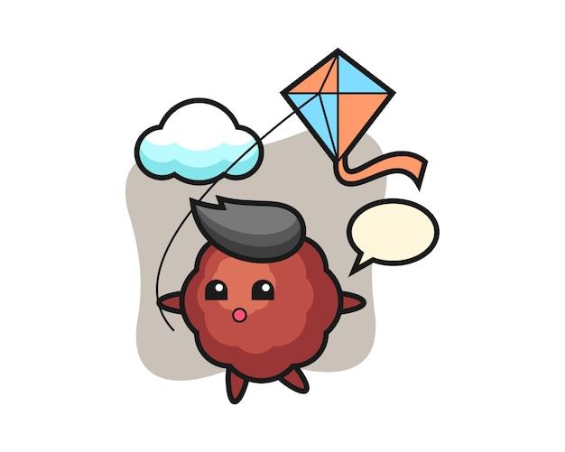 Caricature de boulette de viande joue au cerf-volant