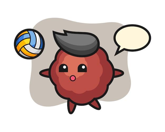 Caricature de boulette de viande joue au volleyball