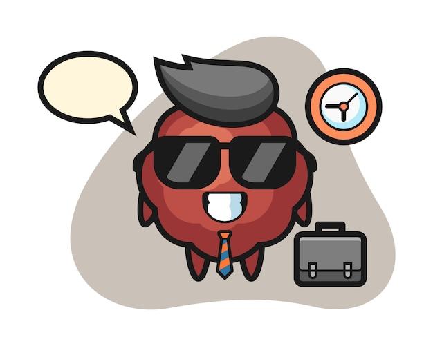 Caricature de boulette de viande en tant qu'homme d'affaires