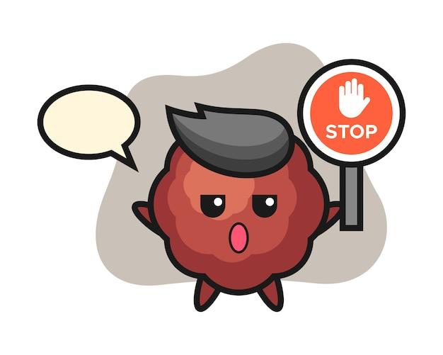 Caricature de boulette de viande tenant un panneau d'arrêt