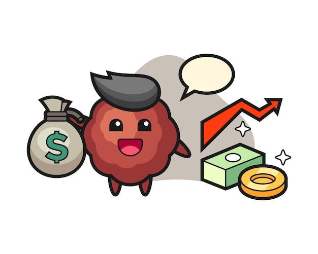 Caricature de boulette de viande tenant le sac d'argent