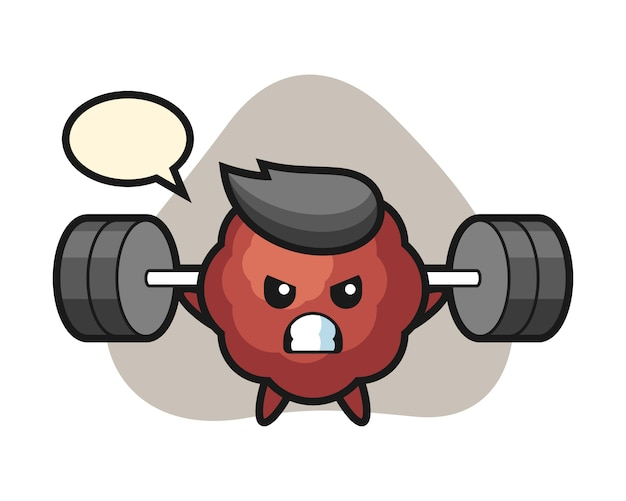 Caricature de boulettes de viande avec une barre