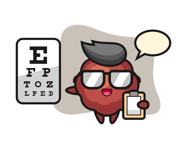 Caricature de boulettes de viande comme ophtalmologie