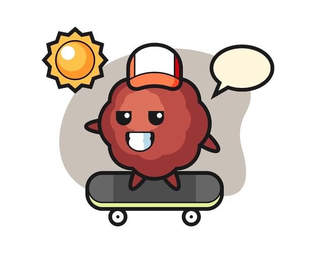 Caricature de boulettes de viande monter une planche à roulettes