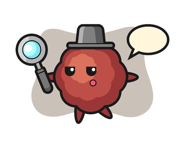 Caricature de boulettes de viande à la recherche avec une loupe