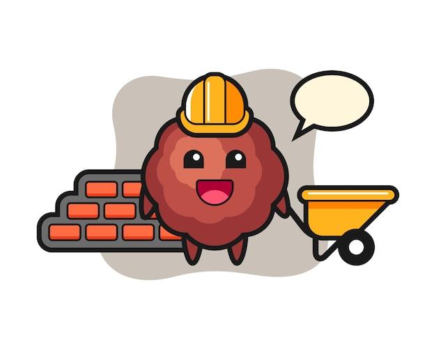 Caricature de boulettes de viande en tant que constructeur