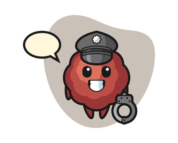 Caricature de boulettes de viande en tant que police