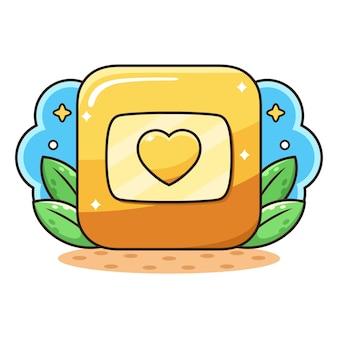 Caricature de bouton d'amour d'or.