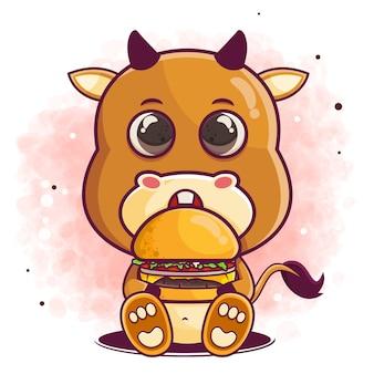 Caricature de buffle mignon dessiné à la main manger un hamburger