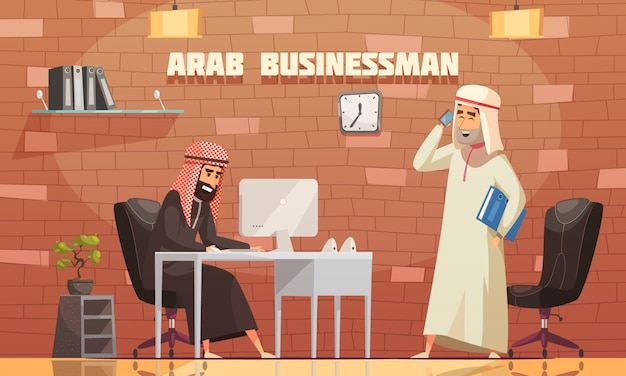 Caricature de bureau d'affaires arabe