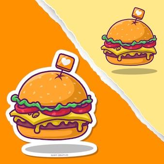 Caricature de burger au fromage, conception de nourriture autocollant.