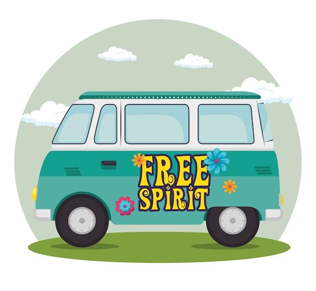 Caricature de bus hippie coloré