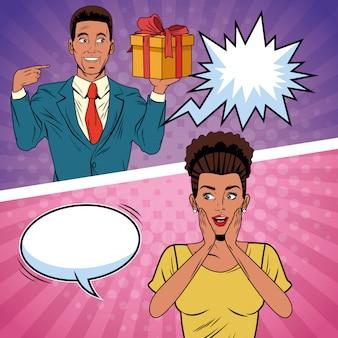 Caricature de cadeau de couple art