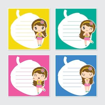 Caricature de cadre de fille aloha colorée mignonne pour papier mémo enfant