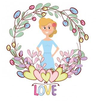 Caricature de cadre floral jeune femme