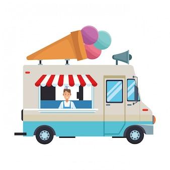 Caricature de camion de crème glacée