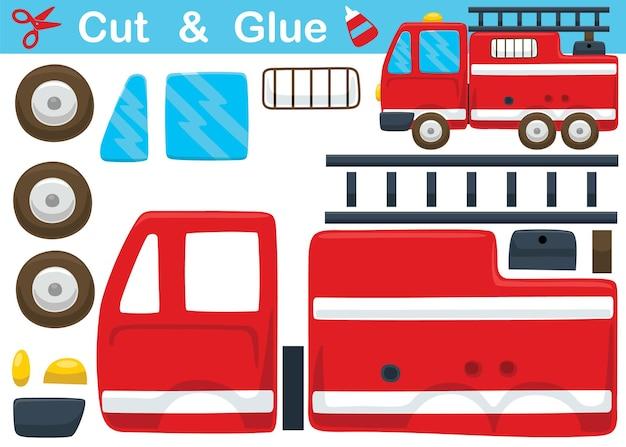 Caricature de camion de pompiers. jeu de papier éducatif pour les enfants. découpe et collage