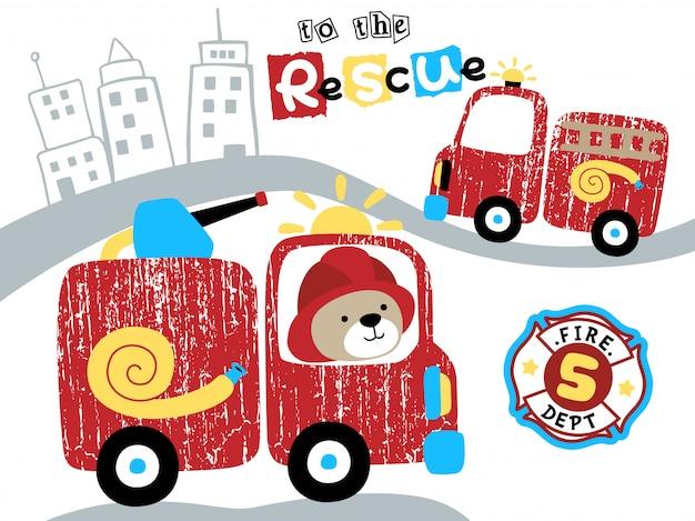 Caricature de camion de pompiers