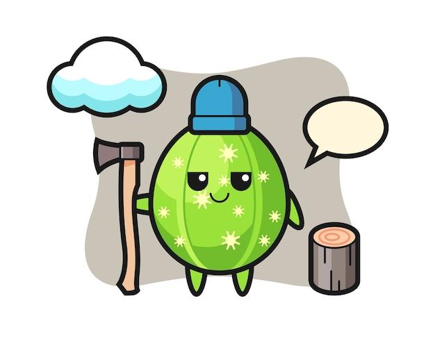 Caricature de caractère de cactus comme bûcheron