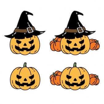 Caricature de caractère citrouille halloween icône