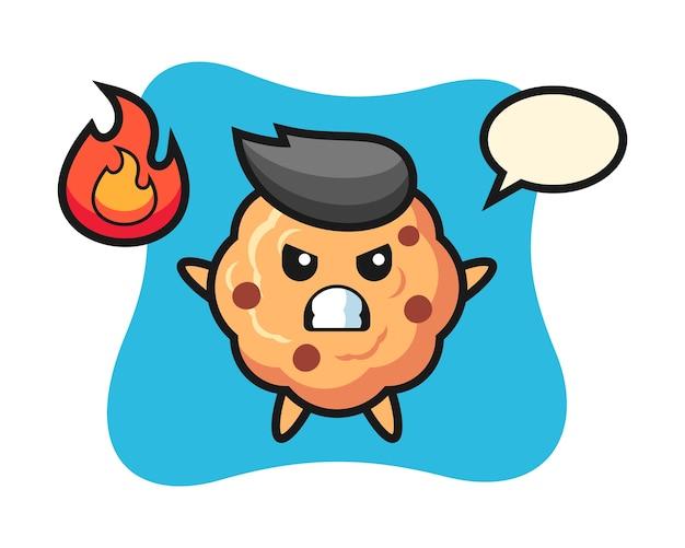 Caricature de caractère cookie aux pépites de chocolat avec un geste de colère