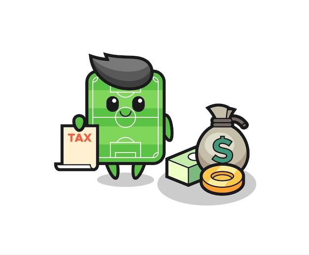 Caricature de caractère du terrain de football en tant que comptable, design de style mignon pour t-shirt, autocollant, élément de logo