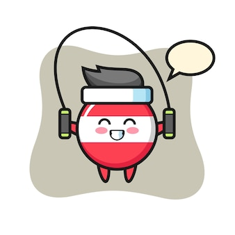 Caricature de caractère insigne drapeau autriche avec corde à sauter