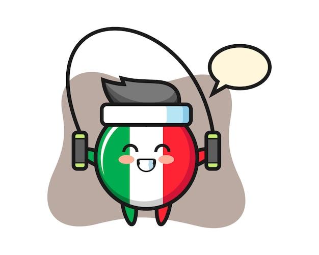 Caricature de caractère insigne drapeau italie avec corde à sauter, style mignon, autocollant, élément de logo
