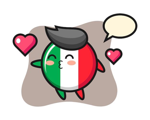 Caricature de caractère insigne drapeau italie avec geste de baiser, style mignon, autocollant, élément de logo