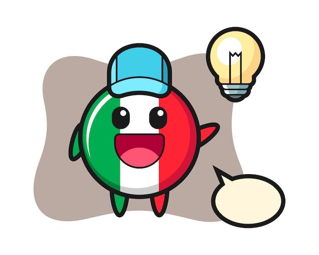 Caricature de caractère d'insigne de drapeau d'italie obtenir l'idée, style mignon, autocollant, élément de logo