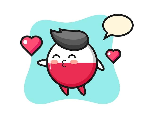 Caricature de caractère insigne drapeau pologne avec geste de baiser