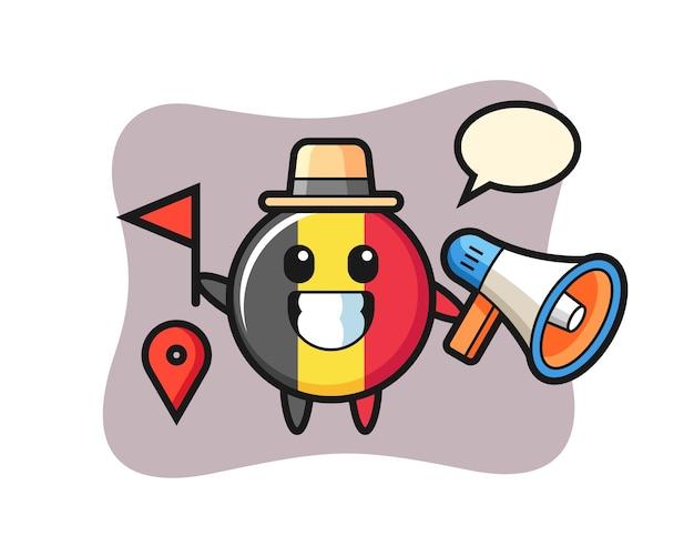 Caricature de caractère de l'insigne du drapeau belge en tant que guide touristique