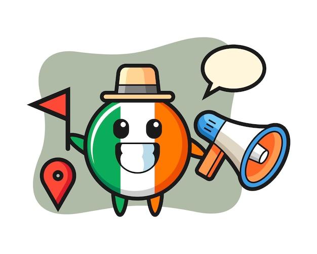 Caricature de caractère de l'insigne du drapeau irlandais en tant que guide touristique
