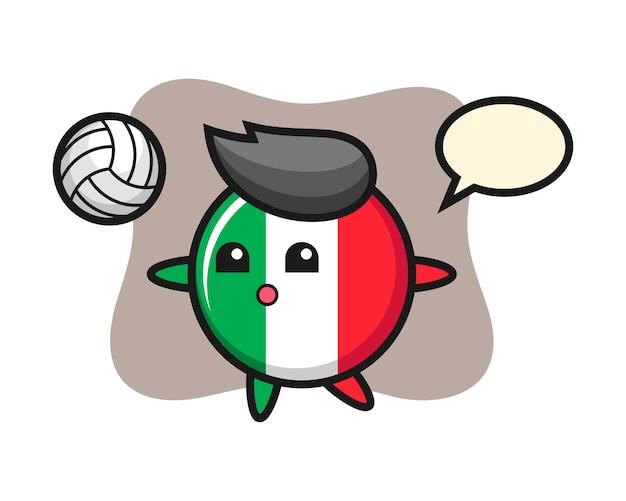 Caricature de caractère de l'insigne du drapeau italien joue au volleyball, style mignon, autocollant, élément de logo