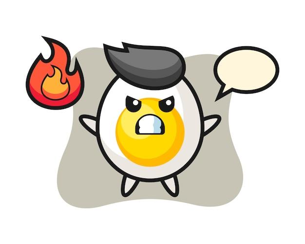 Caricature de caractère oeuf à la coque avec un geste de colère